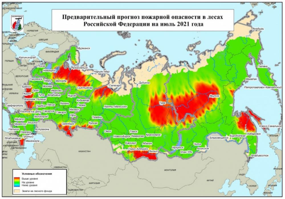 Подготовлен прогноз пожарной опасности в лесах России на июль 2021 года