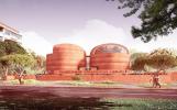 Комплекс из восьми куполообразных цилиндрических зданий, напоминающих зернохранилища