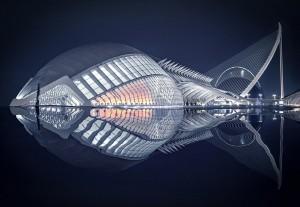 """""""Ночью из-за отражения в воде это здание напоминает рыбу, возможно, доисторическую, у которой сердце бьется как живое"""". Фото: Pedro Luis Ajuriaguerra Saiz, Испания."""